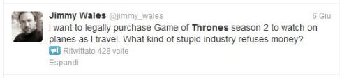 Anche Jimmy Wales pagherebbe per vedere Game of Thrones